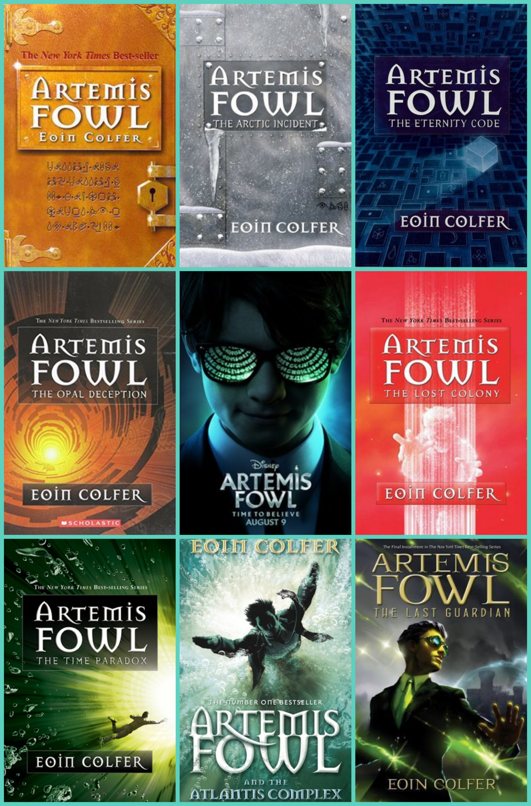 Artemis Fowl Series Collage with Movie Poster in the Center