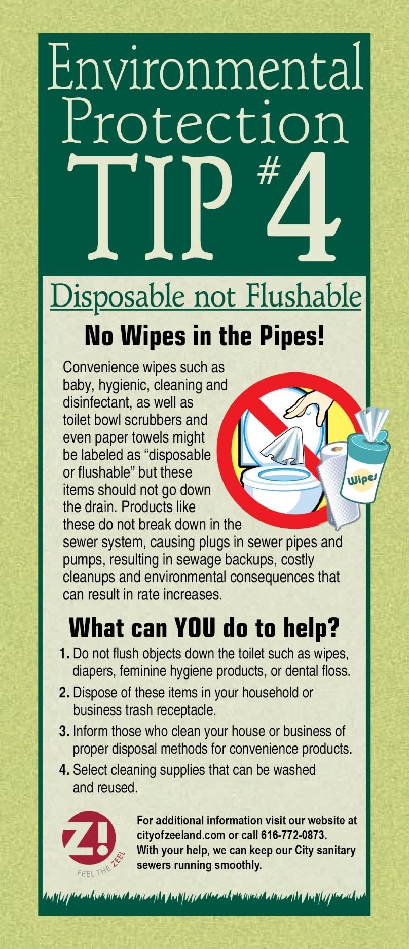Environmental Tip 4 Disposable not Flushable